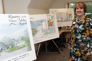 Rowans Hospice chief executive Ruth White with artists' impressions of how the building will be transformed      Picture: Vernon Nash (180678-006)