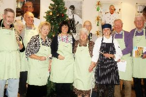 Course members with (fifth from left) Rowans Living Well Centre deputy manager Lesley-Ann Morgan and (third fromright) lecturer and college chef Laura Skye