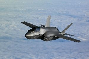 An RAF F-35B Lightning stealth jet over the English Channel during Operation Point Blank, which featured aerial capabilities from the RAF, United States Air Force and French Air Force. Photo: Joe Giddens/PA Wire