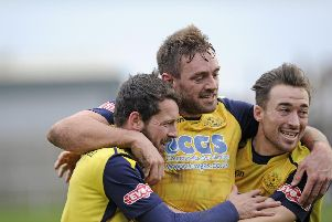 Moneyfields celebrate after Dan Wooden netted against AFC Totton. Picture: Ian Hargreaves  (120119-8)