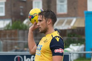 Joe Briggs grabbed the only goal of the game to ensure Moneyfields moved top. Picture: Vernon Nash (180679-065)