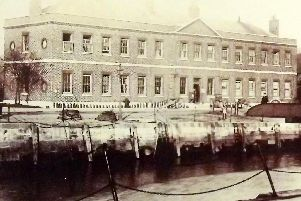 The administrative offices of HMS Vernon circa 1920. There is no Vernon Building emblem in the pediment. The building dates from 1790. Picture: Barry Cox Collection.