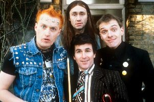 The Young Ones 1982: Vyvyan (Adrian Edmonson), Neil (Nigel Planer), Mike (Christopher Ryan), Rick (Rik Mayall) Picture: BBC
