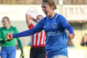 Shannon Albuery celebrates scoring for Portsmouth Women against Southampton. Picture: Jordan Hampton
