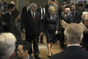 Christian Bale as Dick Cheney and Amy Adams as Lynne Cheney in Vice.