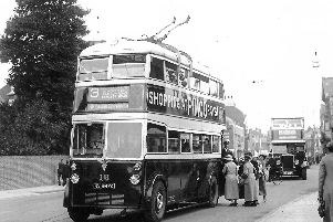 PICTURE 1: This trolleybus driver must have thought he was still driving a tram and stooped in the middle of the road. Photo: Barry Cox collection