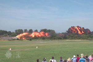 Video still issued by Sussex Police and the Crown Prosecution Service of the air crash during the Shoreham Airshow on August 22 2015 Picture: Sussex Police/CPS/PA Wire