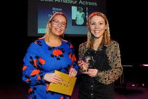 Clare Plumridge, right, gets her Best Actress Award from Fry and Kent. Picture: Sarah Standing (280119-7511)
