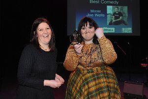 Hetty Austin, right, collects the Best Comedy Act Award on behalf of Joe Wells from Kelly Haswell of Portsmouth Guildhall Trust. Picture: Sarah Standing (280119-7330)