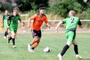 Steve Ramsey was sent off for AFC Portchester in their loss to Christchurch. Picture: Neil Marshall (180728-098)