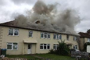 The fire in Kenwood Road, Portchester. Picture: @HampshireFireDogs