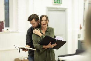 The Girl on The Train in rehearsal. Samantha Womack (Rachel Watson) and Adam Jackson Smith (Tom Watson). Picture by Helen Maybanks