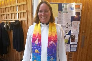 The Rev Jenny Gaffin in her new stole, which depicts the sea