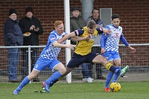 Striker Steve Hutchings has got a three-match suspension. Picture: Ian Hargreaves  (120119-3)