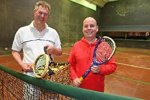 Simon Carter, left, with Seacourt's real tennis pro Andrew Lyons, once ranked No 7 in the world and rated the best marker on the planet