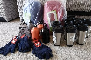 Provisions bought by Cheryl Gibbs and her family for homeless people in Portsmouth.