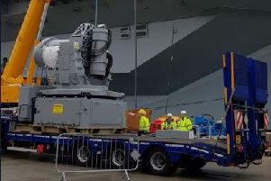 The first of three Phalanx 1B guns have been fitted on HMS Queen Elizabeth. Picture: HMS Queen Elizabeth/ Twitter