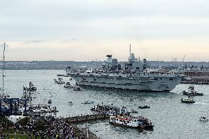 The HMS Queen Elizabeth arrives in Portsmouth. Picture: Dan Kitwood/Getty Images
