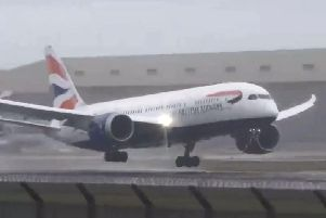 The moment the plane was forced to abort the landing. Picture: Big Jet TV