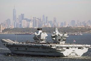 HMS Queen Elizabeth during her maiden voyage to New York last year to test the F-35B. Picture: Royal Navy