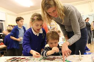 Lucy Wakefield at Messy Church in Meonstoke with her children Lara and Oscar
