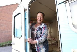 Becky Catchpowle has a vintage caravan on her drive which she used to use as an AirBnB - she was told she was not allowed a couple of years ago and has since offered it for the use of the homeless when it gets cold''Picture: Habibur Rahman