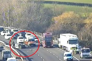 Traffic camera footage from the scene of the crash this afternoon. Picture: Highways England