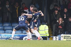 Simon Cox celebrates against Pompey. Picture: Joe Pepler