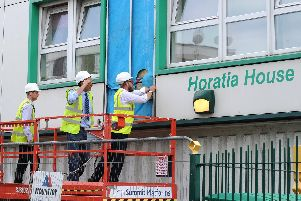 Cladding being removed from Horatia House in 2017