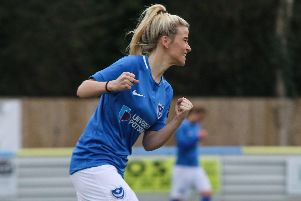 Danielle Rowe celebrates firing the winning goal as Pompey Women beat Southampton Saints 1-0. Picture: Jordan Hampton