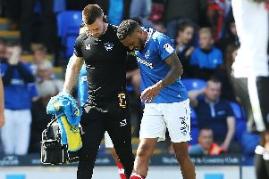 Tareiq Holmes-Dennis limped off with a knee injury on his Pompey debut last season and never featured for the club again. Picture: Joe Pepler