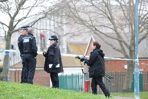 A police officer was stabbed in the back at Stamshaw Park near Newcomen Road in Portsmouth, on Thursday, February 21 at 12.15pm. Picture: Sarah Standing (210219-1682)