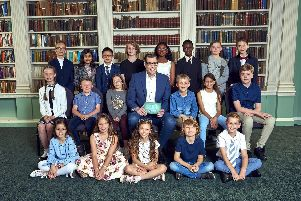 The full line-up for series 6 of Child Genius. Ishal is second from left in the back row.