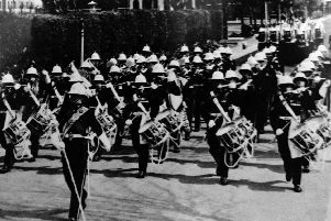 I am sure many ex-bootnecks will remember  marching in the Sunday parade. Here we see the band and escort passing the parade ground in Eastney.