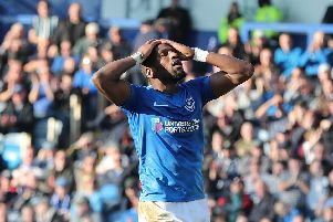 Omar Bogle of Portsmouth during the League One match between Portsmouth v Barnsley, played at Fratton Park, Portsmouth.'23 Feb 2019