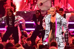 Pink performs on stage at the Brit Awards 2019 at the O2 Arena, London
