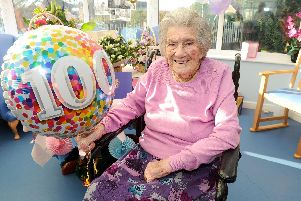 Florence Hatfield celebrated her 100th birthday on February 15 at Peel House nursing home in Fareham. Picture: Sarah Standing (150219-9360)