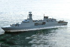 A concept image of what the Type 31e frigate could look like.
