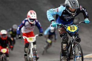 Jake Adcock, right, of the Gospoert team. Round One of the Southern Regional BMX Racing Competition, held in Gosport.