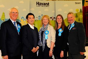 From left, councillor David Guest, Havant MP Alan Mak, councillor Lulu Bowerman, councillor Joanne Thomas and ex Havant Borough Council leader Michael Cheshire at Havant Leisure Centre on the night of the 2016 local elections. Picture: Malcolm Wells (160506-4470)