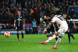 Marcus Rashford scores the late penalty for Manchester United in Paris. Picture: Julian Finney/Getty Images