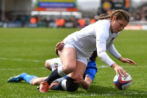Jess Breach scores the first try of England's Women's Six Nations win over Italy at Sandy Park in Exeter