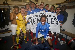 Pompey players celebrate after reaching the Checkatrade Trophy final. Picture: Daniel Chesterton/phcimages.com/PinPep