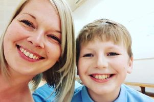 Cassy Payne and her son Ethan, who has been the victim of bullying.
