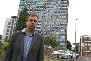 Portsmouth City Council housing cabinet member Councillor Darren Sanders outside Horatia House in Portsmouth. Picture: Malcolm Wells