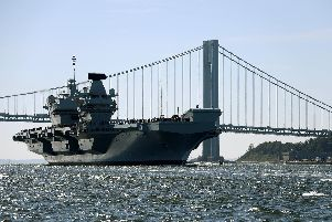 HMS Queen Elizabeth pictured during her maiden deployment to the United States of America as she arrived in New York for the first time. Photo: PO Phot Dave Jenkins