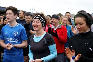 The welcome for tourists during the run briefing at the start of Southsea parkrun on Saturday. Picture: Chris Moorhouse (160319-8)