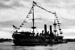 HMS Hercules pictured in 1902, perhaps dressed for the Coronation. Photo:Robert James collection.