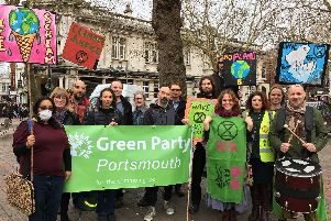 Members of the Portsmouth Green Party and Extinction Rebellion outside the Guildhall
