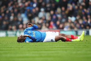 Viv Solomon-Otabor was left in agony after a calf injury ended his Pompey first-team spell. Picture: Joe Pepler